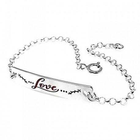 Pulsera plata Ley 925m 18cm. cadena rolo chapa LOVE [AB5373]
