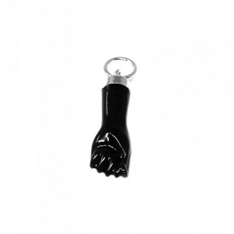 Colgante plata Ley 925m mano puño higa negro 18mm. sintético liso amuleto