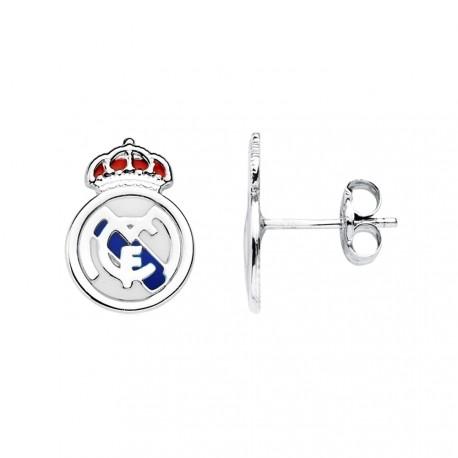 Pendientes escudo Real Madrid oro blanco ley 18k [AB4805]
