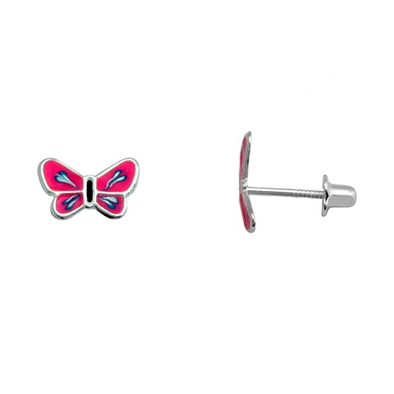 5b2f83c8c14a Pendientes plata Ley 925m. rodiada mariposa rosa azul [AA3899]