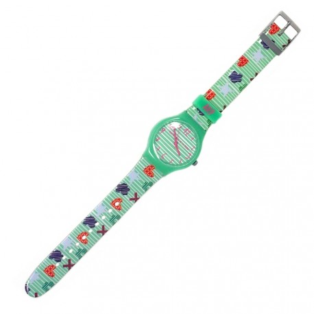 Reloj Agatha Ruiz de la Prada rayas verdes iconos AGR206 [AB5808]