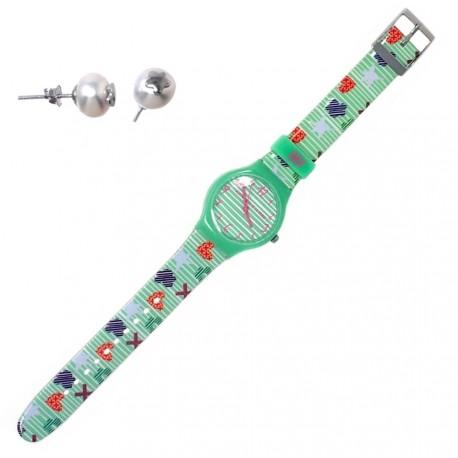 Juego Agatha Ruiz de la Prada reloj AGR206 pendientes plata [AB6223]