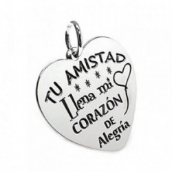 Colgante plata Ley 925m chapa corazón motivo globo corazón [AB5378]