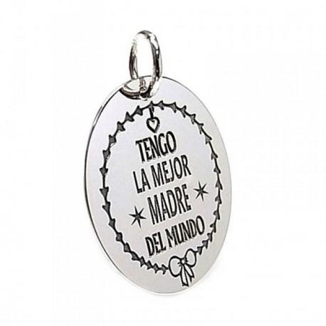 Colgante plata Ley 925m chapa oval mensaje madre lazo [AB5381GR]