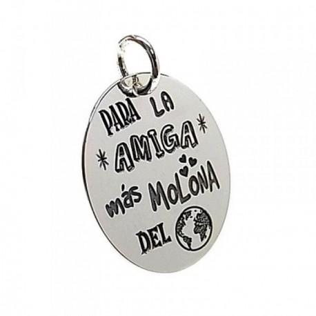 Colgante plata Ley 925m chapa oval mensaje amiga mundo [AB5383]