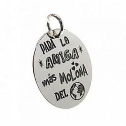 Colgante plata Ley 925m chapa oval mensaje amiga mundo [AB5383GR]