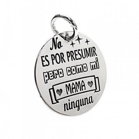 Colgante plata Ley 925m chapa redonda mensaje mamá [AB5392GR]