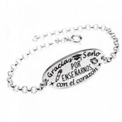 Pulsera plata Ley 925m 18cm. cadena rolo chapa oval frase [AB5409GR]