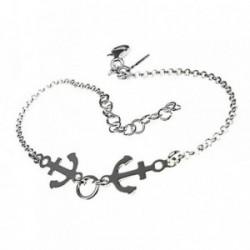 Pulsera plata Ley 925m 16.5cm. cadena rolo motivos anclas [AB5416]