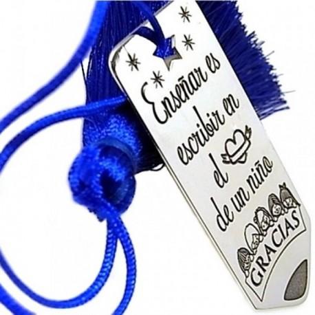 Marcapáginas plata Ley 925m motivo pompón azul chapa mensaje [AB5441]