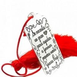 Marcapáginas plata Ley 925m motivo pompón rojo chapa mensaje [AB5443]