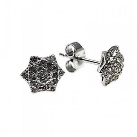 Pendientes plata Ley 925m rodiado flor piedras [AB5470]