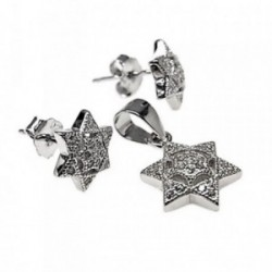 Juego plata Ley 925m motivo estrella piedras microengastadas [AB5474]