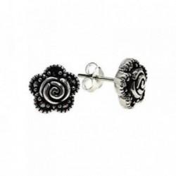 Pendientes plata Ley 925m flor 9mm. piedras marquesitas [AB5476]