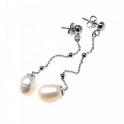 Pendientes plata Ley 925m media bola cadena bolas perlas [AB5478]