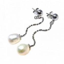 Pendientes plata Ley 925m media bola perlas cultivadas [AB5479]