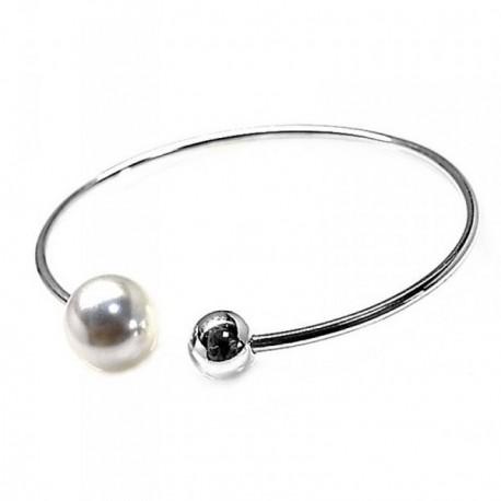 Pulsera plata Ley 925m rígida tubo 2mm. bola perla sintética [AB5486]
