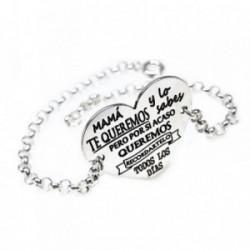 Pulsera plata Ley 925m 17.5cm. cadena rolo corazón [AB5487]
