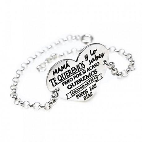 Pulsera plata Ley 925m 17.5cm. cadena rolo corazón [AB5487GR]
