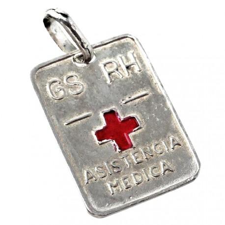 Chapa plata Ley 925m cruz roja 18mm. grupo sanguíneo [AB5544]