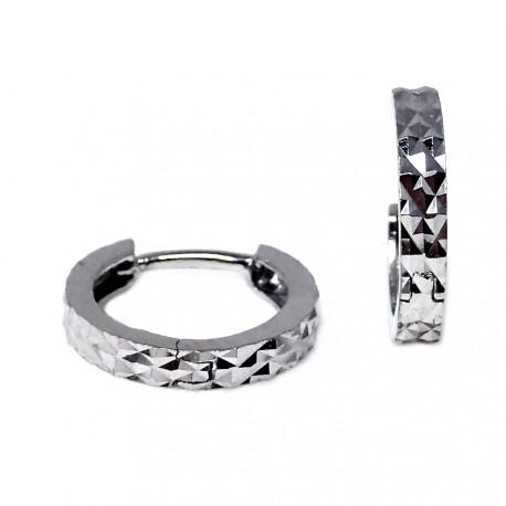 Pendientes oro blanco 18k aros diamantados 11mm. [AB6242]
