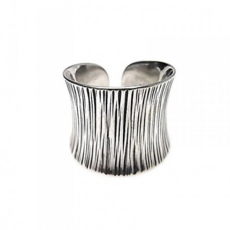 Sortija plata Ley 925m oxidada líneas cuerpo ajustable [AB6059]