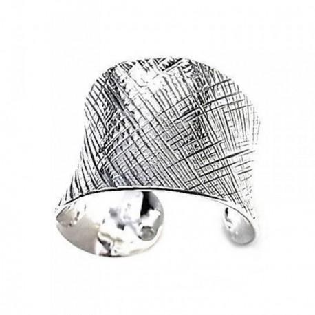 Sortija plata Ley 925m oxidada rayada cuerpo ajustable [AB6061]