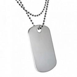 Gargantilla plata Ley 925m cadena bolas 50cm. chapa militar [AB6072]