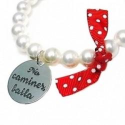 Pulsera chapa plata Ley 925m perla elástica chapa lazo rojo [AB6074]