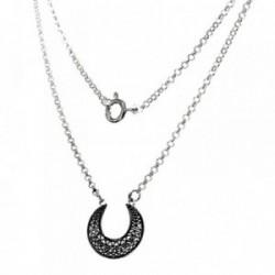 Gargantilla plata Ley 925m 41cm. luna dibujos oxidados  [AB6084]