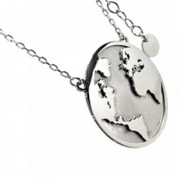 Gargantilla plata Ley 925m 40cm. mapa del mundo rodiada [AB6094]