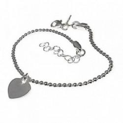 Pulsera plata Ley 925m fetiche 17cm. motivo corazón liso [AB6099]