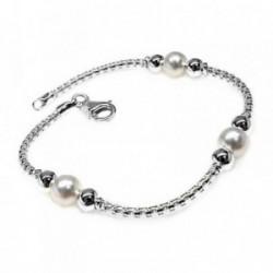 Pulsera plata Ley 925m 18.5cm. perlas bolas cadena coreana [AB6114]