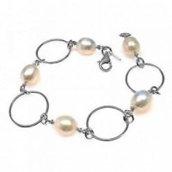Pulsera plata Ley 925m 19cm. perlas asas [AB6115]