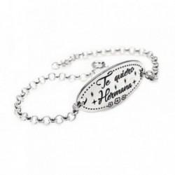 Pulsera plata Ley 925m 17.5cm. cadena rolo chapa oval frase [AB6117]