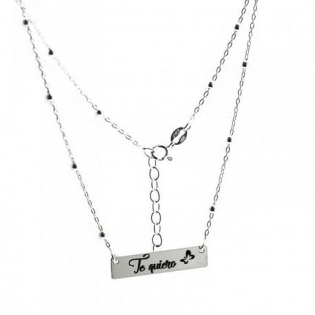 Gargantilla plata Ley 925m 44cm. cadena bolas chapa frase [AB6119]