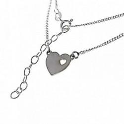 Gargantilla plata Ley 925m 38.5cm. cadena barbada corazón [AB6120]
