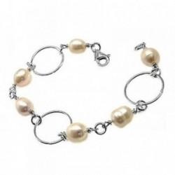 Pulsera plata Ley 925m 19cm. perlas asas [AB6125]