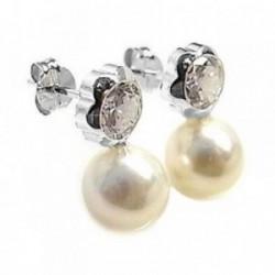 Pendientes plata Ley 925m 16mm. perla circonita chatón flor [AB6130]