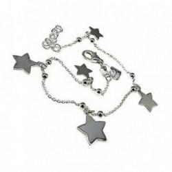 Pulsera plata Ley 925m fetiche 17cm. motivo estrellas [AB6132]