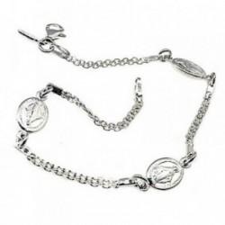Pulsera plata Ley 925m 19cm. motivos Vírgen Milagrosa cadena [AB6142]