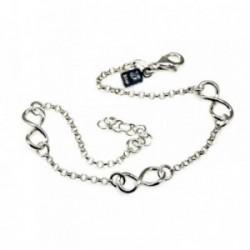Pulsera plata Ley 925m 17cm. tres infinitos cadena de rolo [AB6144]