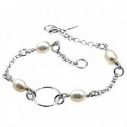 Pulsera plata Ley 925m comunión 18cm. perlas círculo [AB6156]