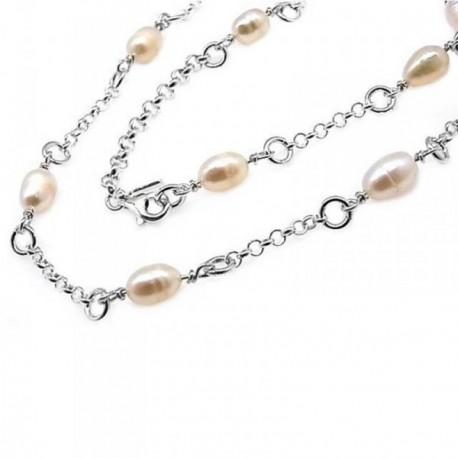 Gargantilla plata Ley 925m 44cm. perlas cadena de rolo [AB6157]