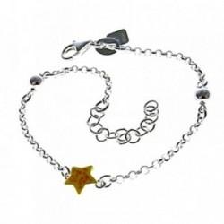 Pulsera plata Ley 925m 15cm. estrellas esmaltadas colores  [AB6168]