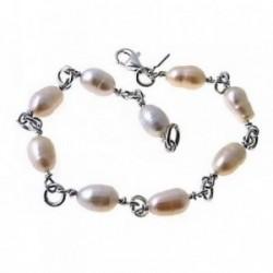 Pulsera plata Ley 925m comunión 18cm. perlas asas combinado [AB6175]
