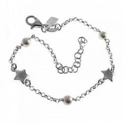 Pulsera plata Ley 925m 16.5cm. perlas estrellas cadena rolo [AB6176]