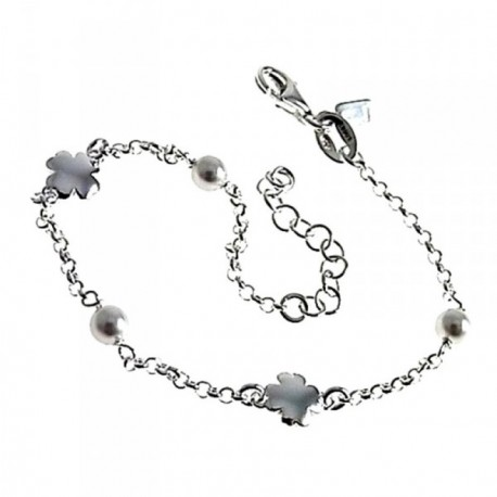 Pulsera plata Ley 925m 16.5cm. perlas tréboles cadena rolo [AB6177]