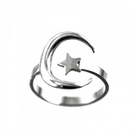 Sotija plata Ley 925m motivos luna estrella cuerpo ajustable [AB6201]