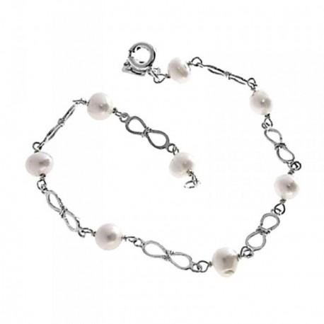 Pulsera plata Ley 925m comunión 18cm. perla lazos combinada [AB6204]